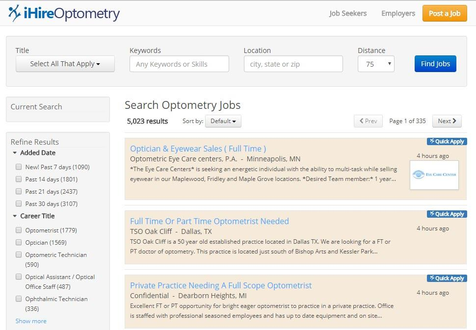 Screenshot of job search on iHireOptometry