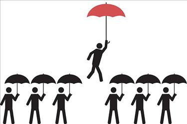 vector illustration of person with red umbrella being picked out of a crowd