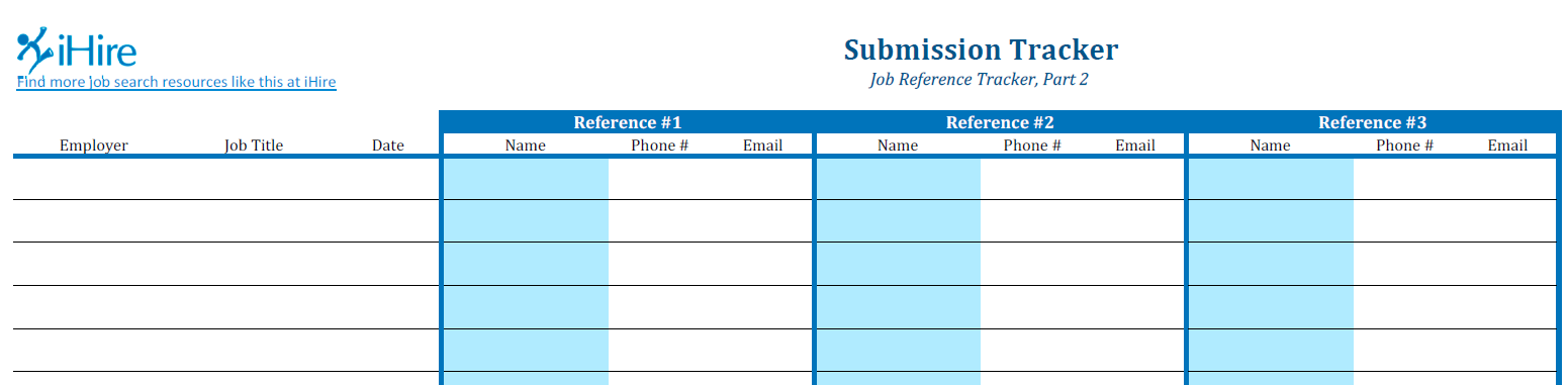 Partial screenshot of Job Reference Submission Tracker