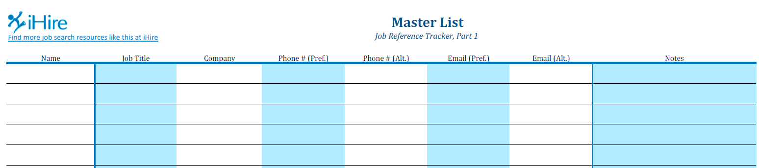 Partial screenshot of Job Reference Master List
