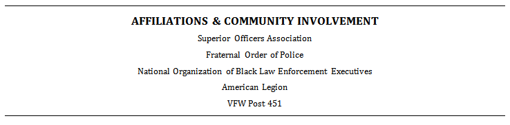 example of an affiliations and community involvement section on a resume