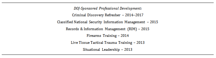 second example of a training section on a law enforcement resume