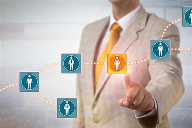 employee pointing to a talent network