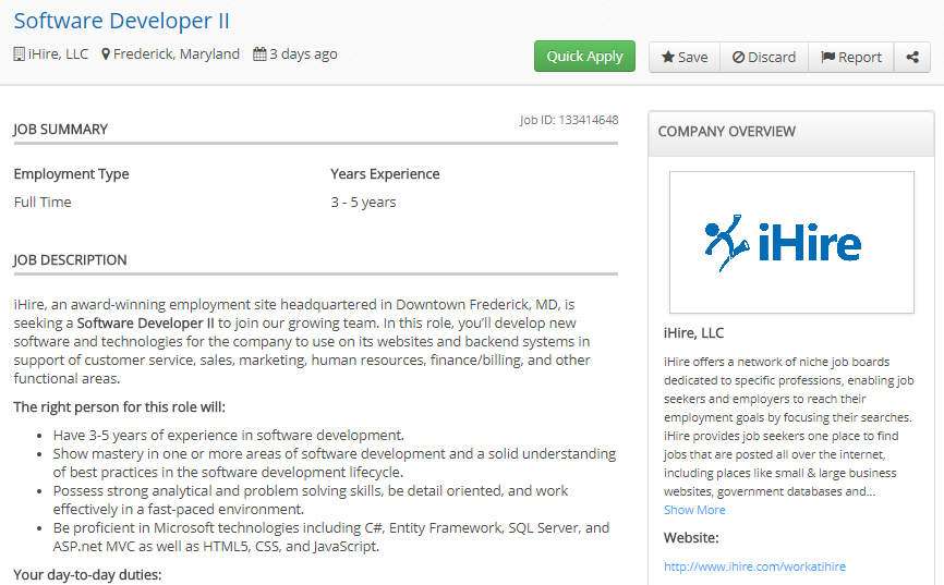 ihire job ad example shot 1