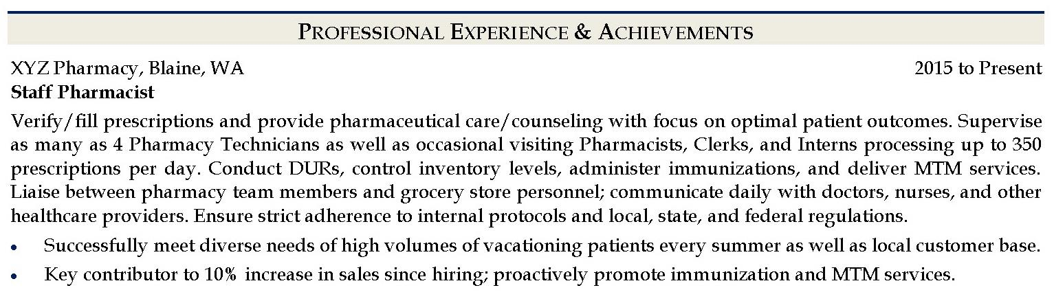 Sample pharmacist job description and achievements