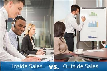 Image showing professionals performing duties of inside sales and outside sales