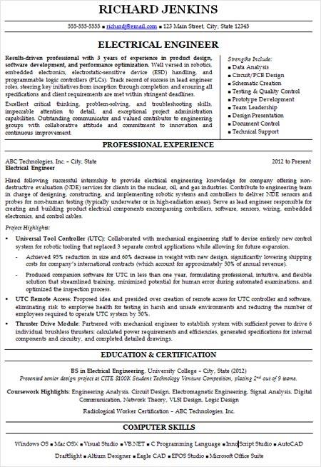 Example of a traditional chronological resume format