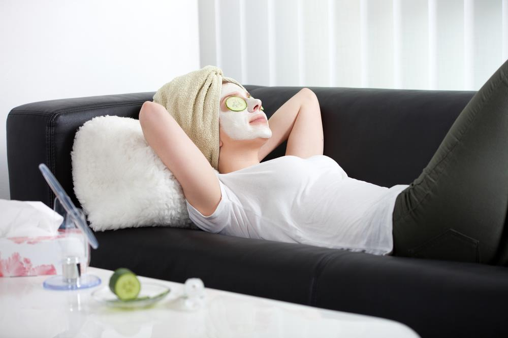 woman enjoying a spa day at home during her staycation