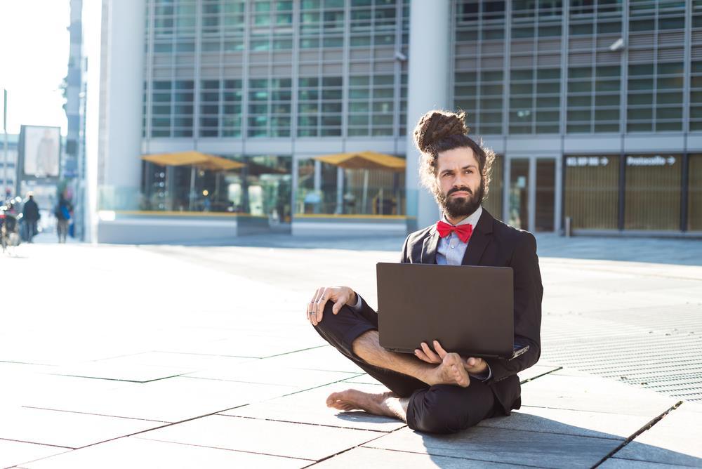Social media guru at work