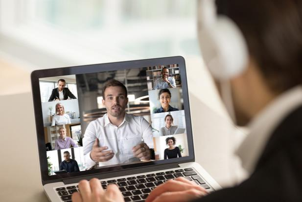 employee participating in a video meeting