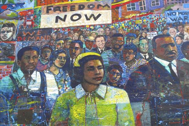 Mural in Atlanta, GA depicting civil rights movement