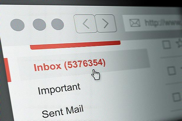 View of an email inbox with thousands of unread messages