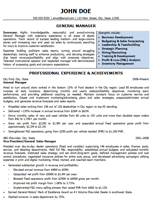 Page one of our general manager resume sample