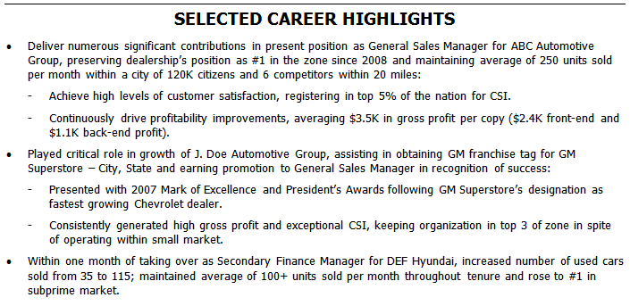 A career highlights section is another approach to showing an automotive general manager's contributions