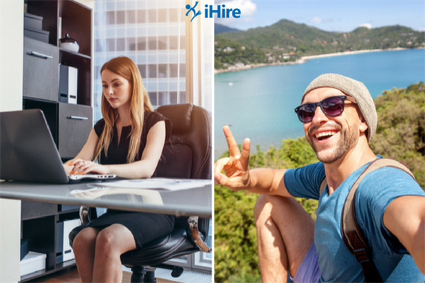 split image showing professional covering for a coworker on vacation