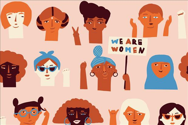 "illustration of a diverse group of women including one holding a sign that reads, ""we are women"""