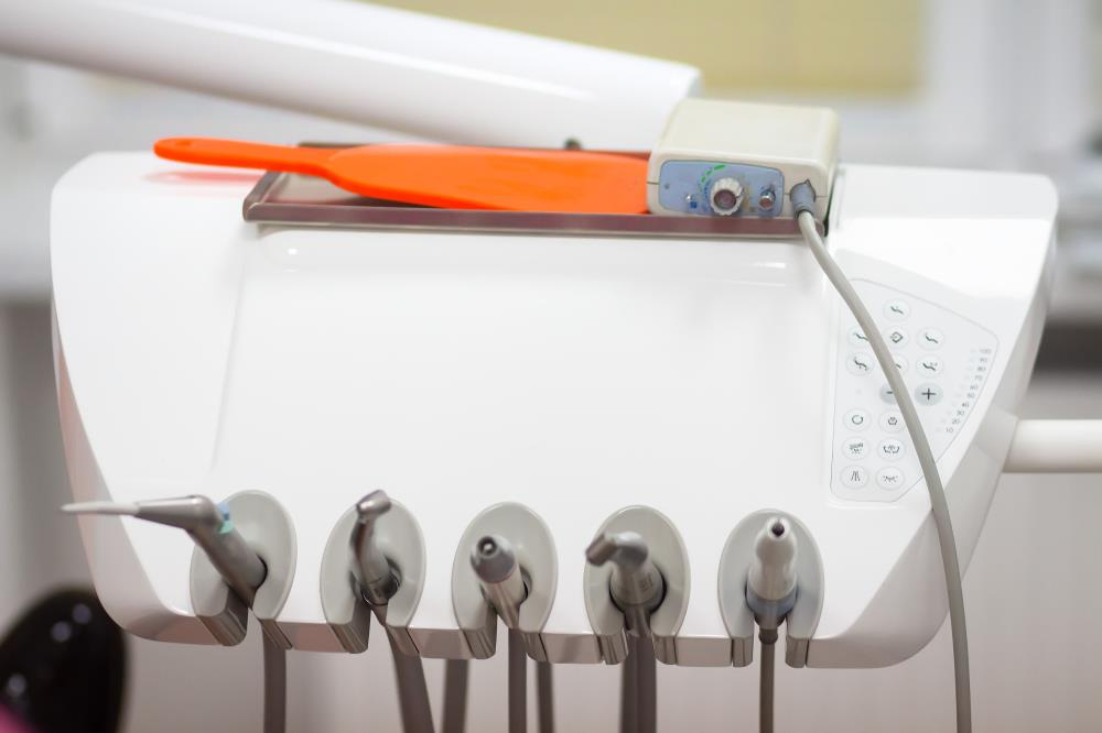 Closeup view of dental equipment used for patient care