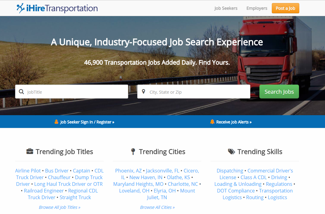 iHireTransportation homepage