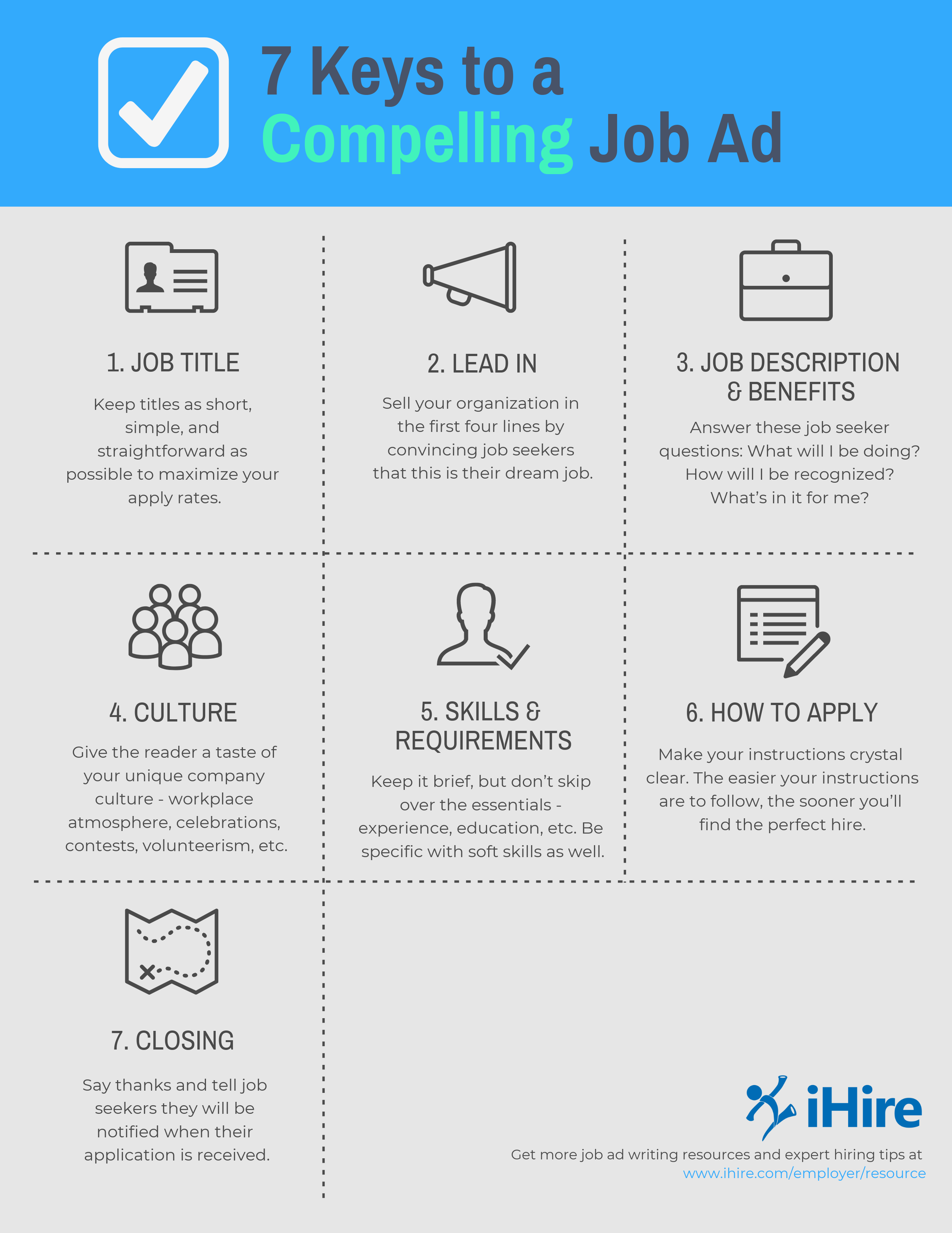 ihire 7 keys to a compelling job ad infographic