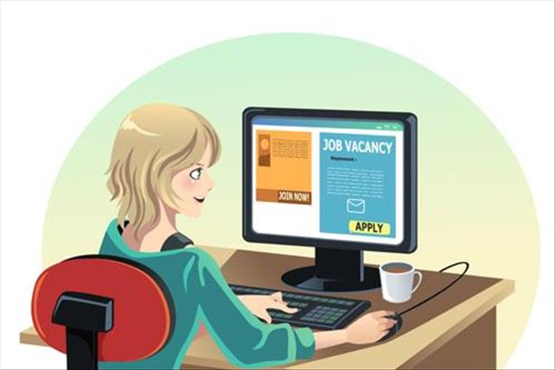 illustration of a job seeker reading a job ad on her computer