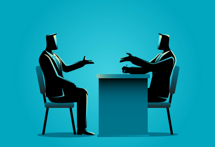 graphic depicting two professionals engaged in conversation