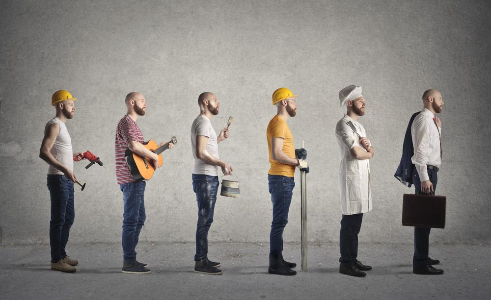 concept image of man pursuing different careers such as chef, painter, and musician