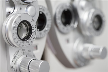 Closeup of optometry equipment