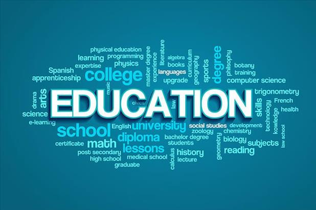 Word cloud listing terms related to education
