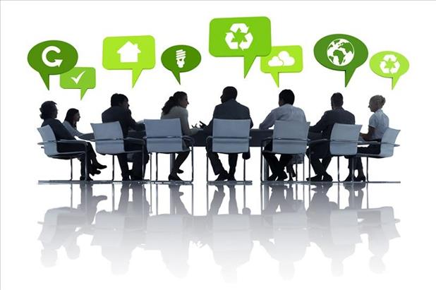 Group of professionals discussing environmental issues