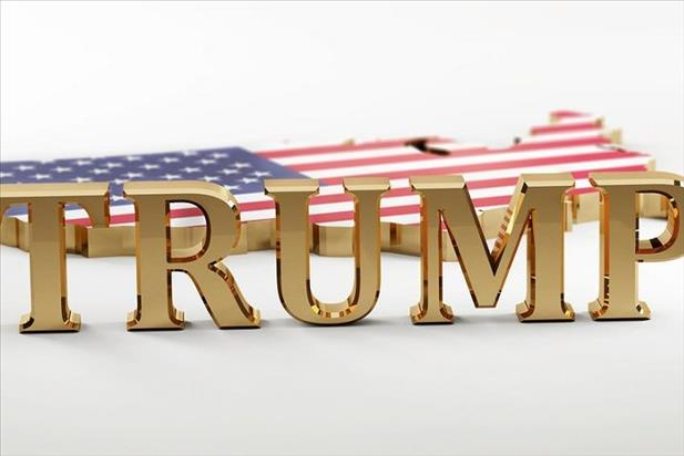 Trump's name in gold in front of United States model