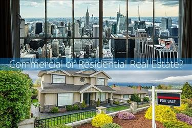 Split image showing commercial and residential real estate properties