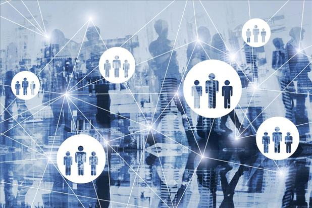 online recruiting illustration with network imagery and silhouettes of people in the background