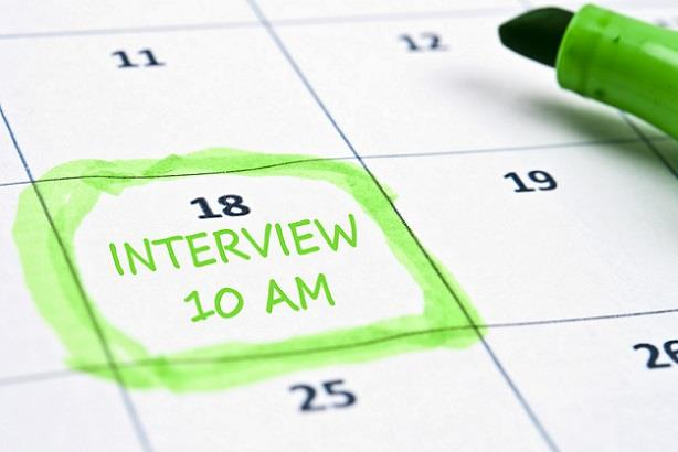 Calendar showing a job interview has been scheduled