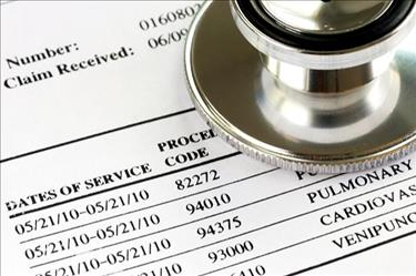 An example of an insurance claim including medical billing and medical coding information