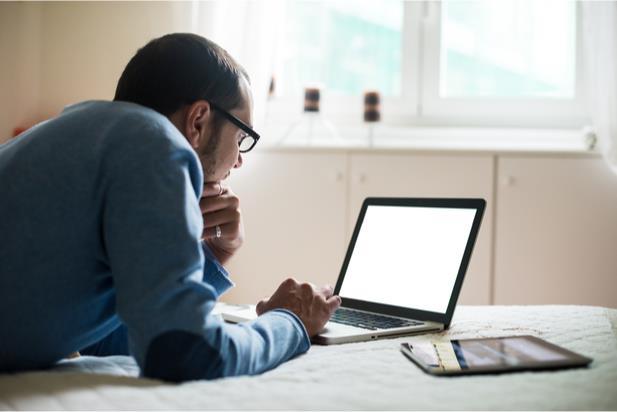 man viewing computer