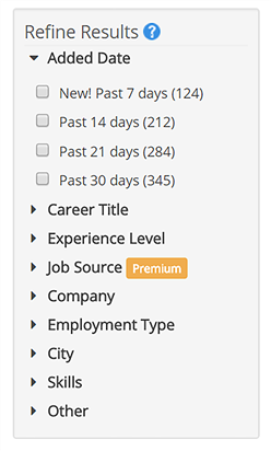 Job Search Filters Column
