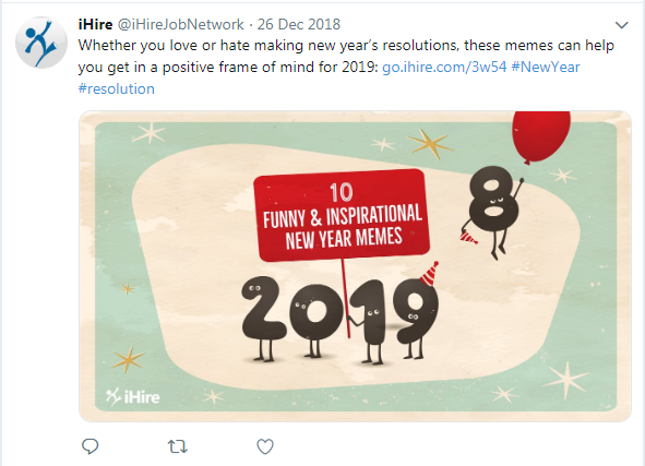 screenshot of iHire tweet about funny and inspirational new year's memes