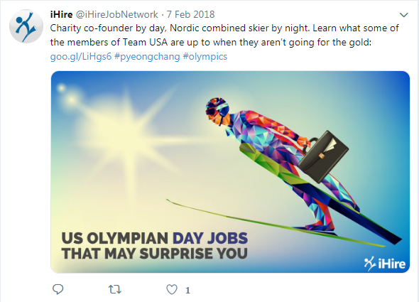 screenshot of iHire tweet about winter Olympians and their day jobs