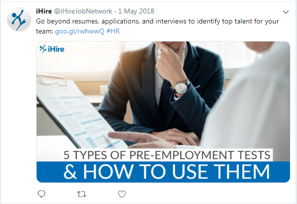 screenshot of iHire tweet about pre-employment tests