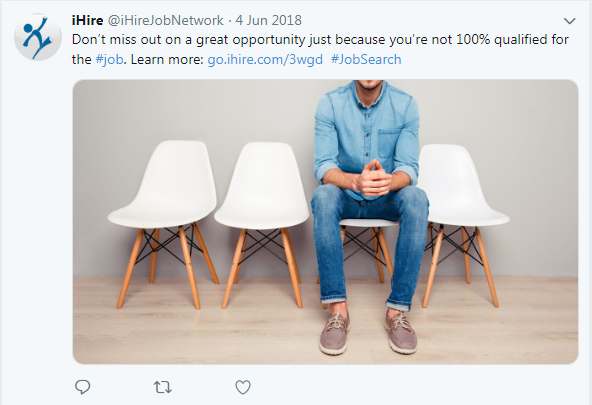screenshot of iHire tweet about applying for a job without meeting all qualifications
