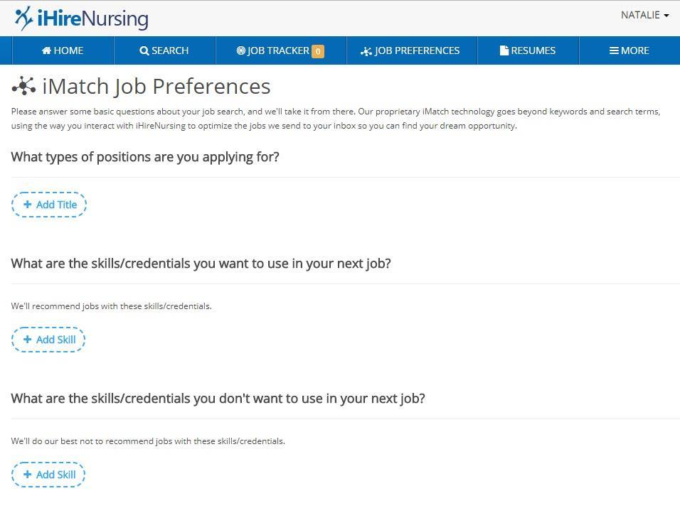 Screenshot of iMatch job preferences page