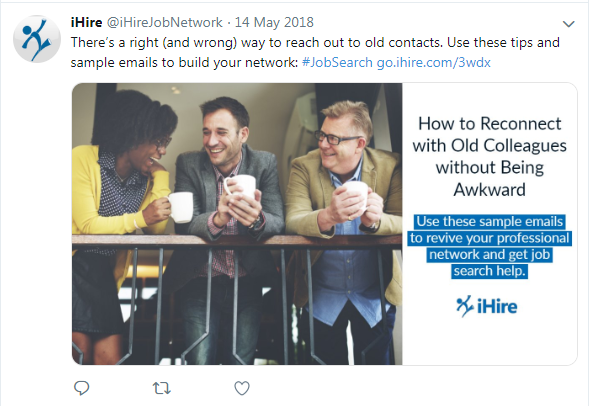screenshot of iHire tweet about reconnecting with colleagues