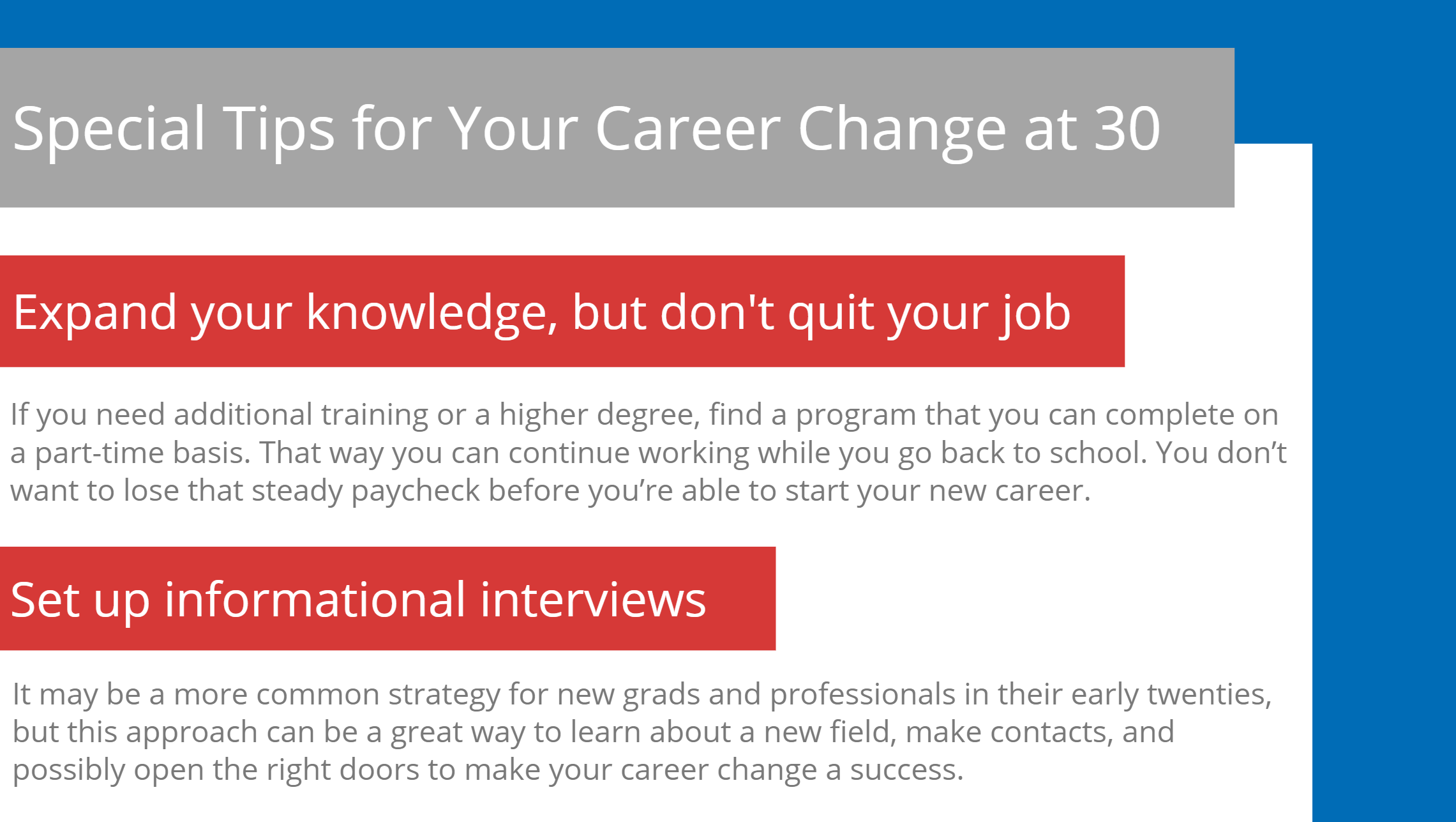 Special tips for your career change at 30