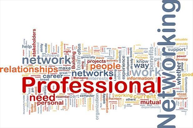 Word cloud listing terms related to professional networking