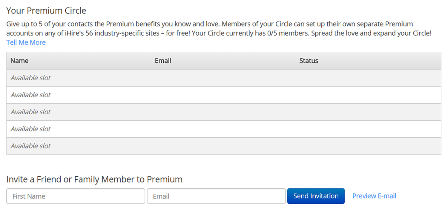 Screenshot of iHire's Premium Circle Settings page