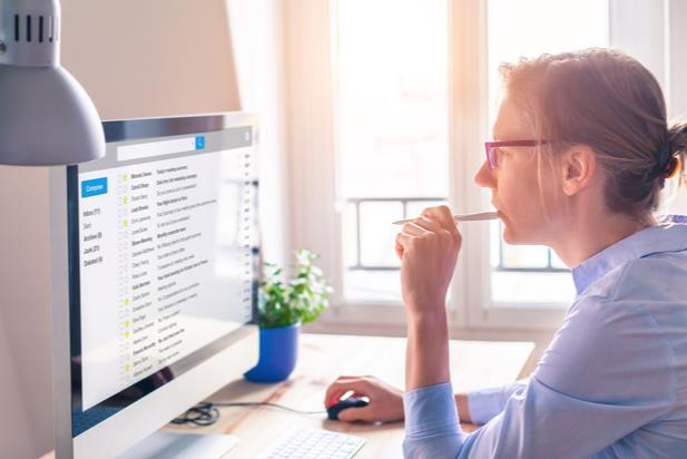 woman looking at email