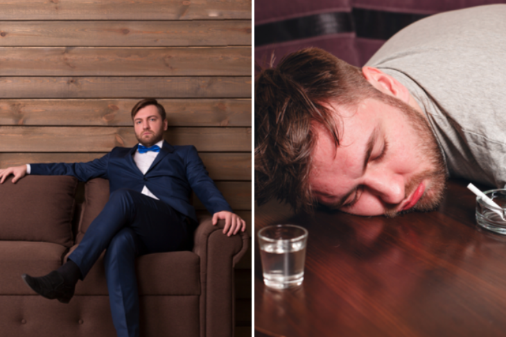 Split image showing a professional looking individual and a drunk person
