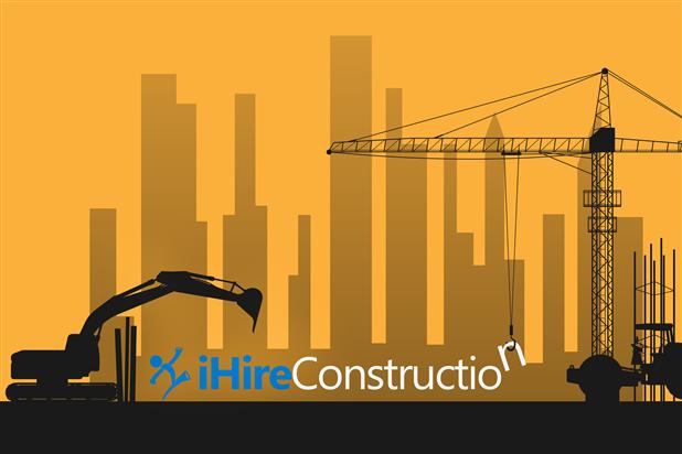 iHireConstruction logo against backdrop of skyline under construction. Illustration.