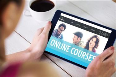person taking online courses