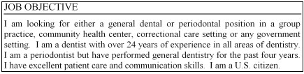Example of an objective statement for a periodontist